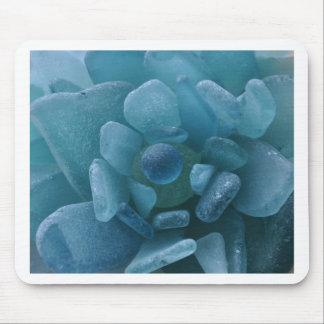 Blue Sea Glass Flower Mouse Pad
