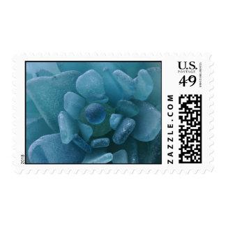 Blue Sea Glass Flower Postage