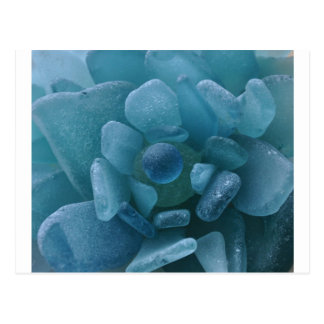 Blue Sea Glass Flower Post Card