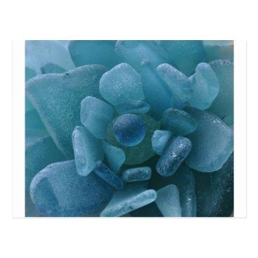LHSeaglass Blue Sea Glass Flower Postcard