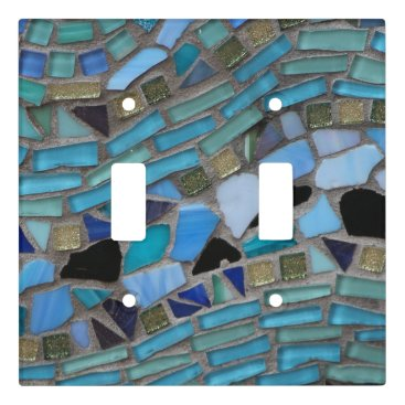 TheBeachBoutique Blue Sea Glass Mosaic Light Switch Cover