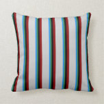 [ Thumbnail: Blue, Sea Green, Black, Dark Red, and Light Grey Throw Pillow ]