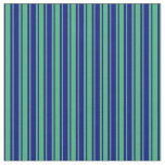 [ Thumbnail: Blue & Sea Green Colored Lined/Striped Pattern Fabric ]