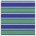 [ Thumbnail: Blue, Sea Green & Light Gray Stripes Pattern Fabric ]