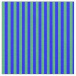 [ Thumbnail: Blue & Sea Green Lines Pattern Fabric ]