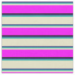 [ Thumbnail: Blue, Sea Green, Pale Goldenrod, Fuchsia & Black Fabric ]