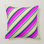 [ Thumbnail: Blue, Sea Green, Pale Goldenrod, Fuchsia & Black Throw Pillow ]