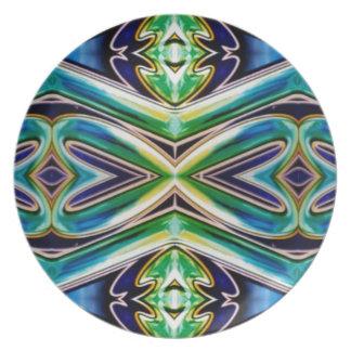 Blue Sea Green Pop Soothing Pattern Melamine Plate