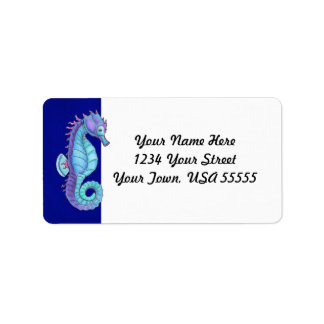 Blue Sea Horse Address Labels