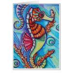 * Blue - sea horse * - Blank Card