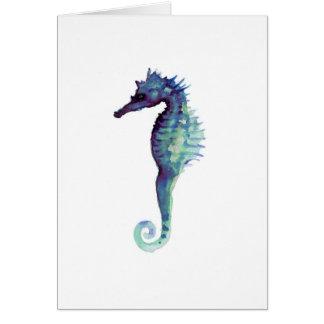Blue sea horse design nautical oceanic seahorses card