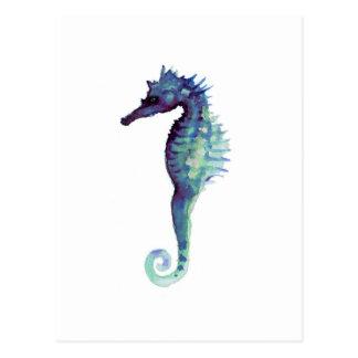 Blue sea horse design nautical oceanic seahorses postcard