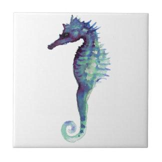Blue sea horse design nautical oceanic seahorses tile