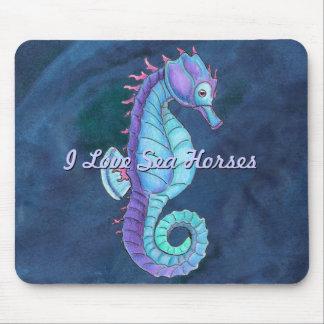 Blue Sea Horse Mouse Pad