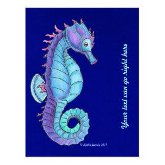 Blue Sea Horse Postcard