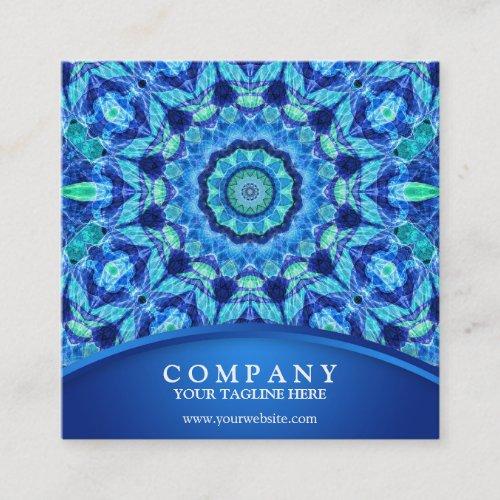 Blue Sea Jewel Mandala Square Business Card