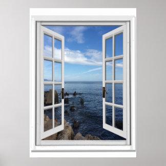 Blue Sea Ocean View Faux Window Poster