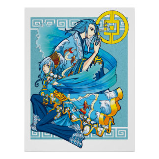Blue Sea of White Waves Poster Print
