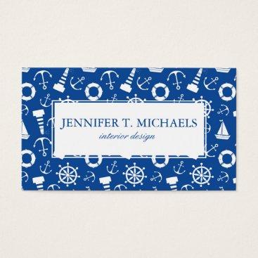 Beach Themed Blue Sea Pattern Business Card