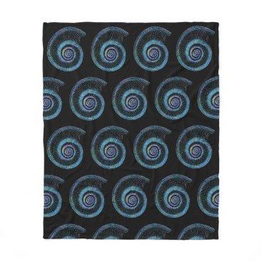 Beach Themed Blue Sea Shell Black Fleece Blanket