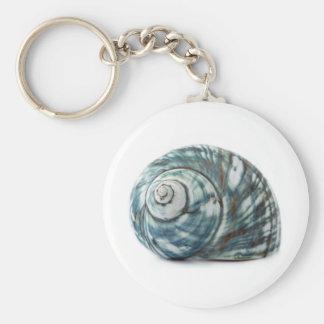 Blue Sea Shell Basic Round Button Keychain