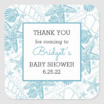 Blue Sea Shells baby shower favor thank you Square Sticker
