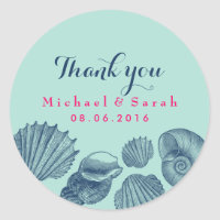 Blue Sea shells Beach Wedding Thank You Sticker