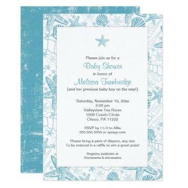 Beach Themed Blue Sea Shells Starfish boy baby shower invite