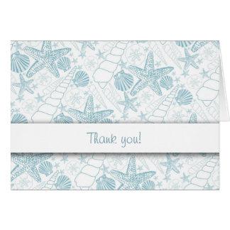 Blue Sea Shells Thank You Notes / ocean beach