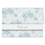 Blue Sea Shells Thank You Notes / ocean beach Card