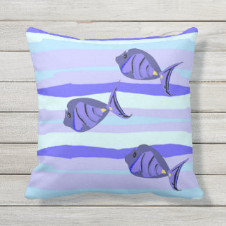 Blue Sea Stripes and Purple Tropical Fish Outdoor Pillow