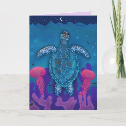 Blue Sea Turtle Ocean Reef Blank Greeting Card