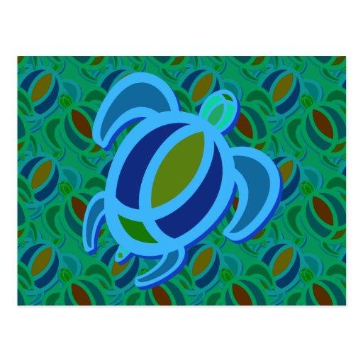 Blue Sea Turtle Postcard