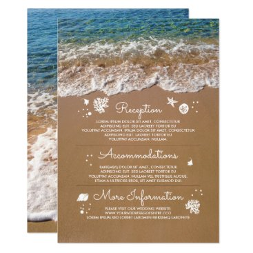 Beach Themed Blue Sea Waves and Sand Beach Wedding Information Card