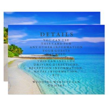 Beach Themed Blue Sea Waves and Sand Beach Wedding Information Card