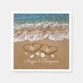 Blue Sea Waves and Sand Hearts Tropical Wedding Napkin