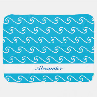 Blue sea waves name personalized swaddle blanket