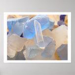 Blue SEAGLASS Fine art prints SEA GLASS Beach Poster