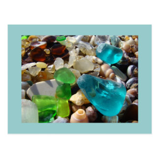 Blue Seaglass postcards Green Sea Glass Agates
