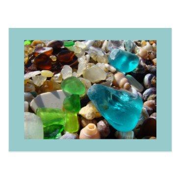 NatureGiftsArt Blue Seaglass postcards Green Sea Glass Agates