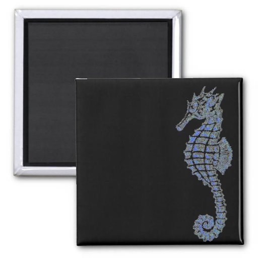 Blue Seahorse 2 Inch Square Magnet