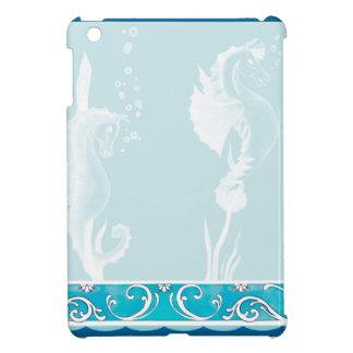 Blue SeaHorse and Swirl Design iPad Mini Covers