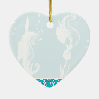 Blue SeaHorse and Swirl Design Christmas Ornaments