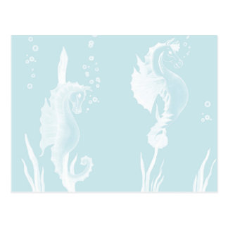 Blue SeaHorse and Swirl Design Postcard