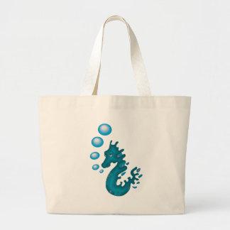 Blue Seahorse Canvas Bags