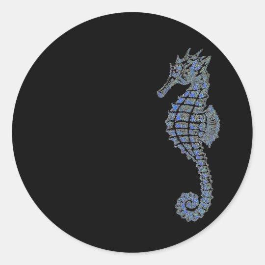 Blue Seahorse Classic Round Sticker