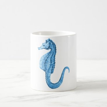 Beach Themed Blue seahorse coastal nautical ocean gifts coffee mug