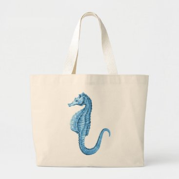 Beach Themed Blue seahorse coastal nautical ocean gifts large tote bag