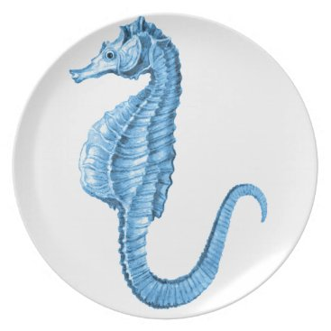 Beach Themed Blue seahorse coastal nautical ocean gifts melamine plate