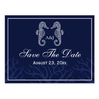 Blue Seahorse Monogram Save The Date Postcards